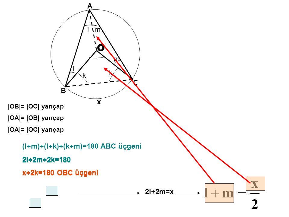 O x l l k k m m (l+m)+(l+k)+(k+m)=180 ABC üçgeni 2l+2m+2k=180 x+2k=180 OBC üçgeni A B C |OB|= |OC| yarıçap |OA|= |OB| yarıçap |OA|= |OC| yarıçap x 2l+