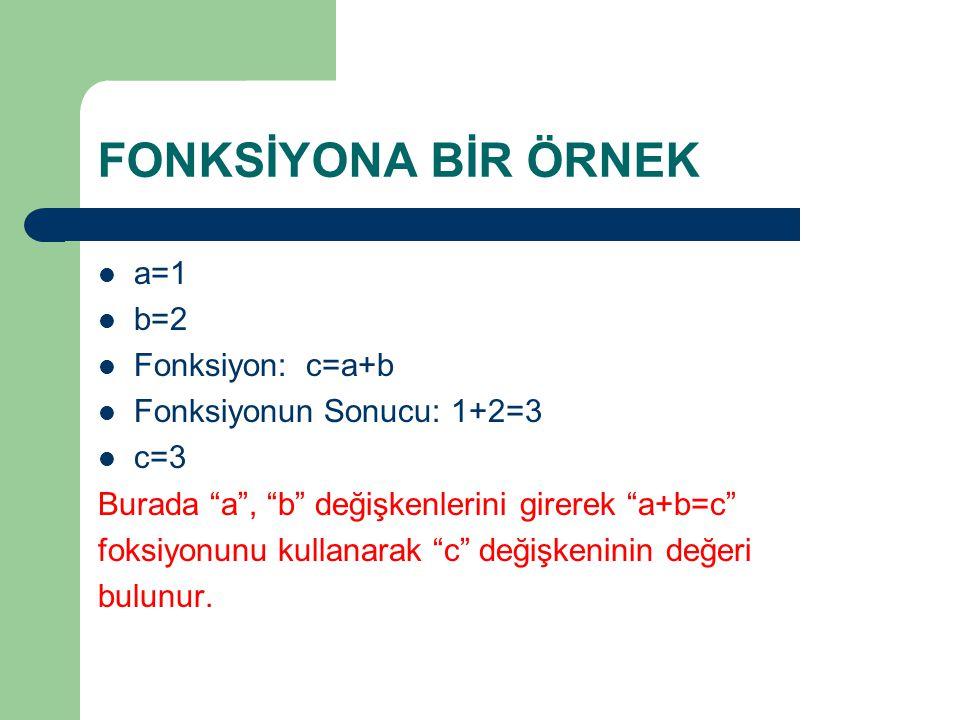 """FONKSİYONA BİR ÖRNEK a=1 b=2 Fonksiyon: c=a+b Fonksiyonun Sonucu: 1+2=3 c=3 Burada """"a"""", """"b"""" değişkenlerini girerek """"a+b=c"""" foksiyonunu kullanarak """"c"""""""