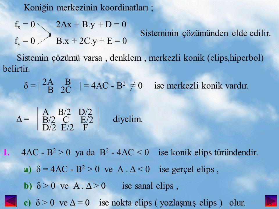 Koniğin merkezinin koordinatları ; f x = 0 2Ax + B.y + D = 0 f y = 0 B.x + 2C.y + E = 0 Sistemin çözümü varsa, denklem, merkezli konik (elips,hiperbol) belirtir.