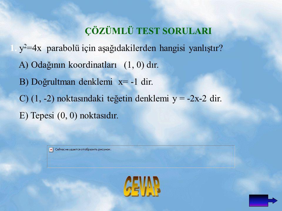 ÇÖZÜMLÜ TEST SORULARI 1.y 2 =4x parabolü için aşağıdakilerden hangisi yanlıştır.