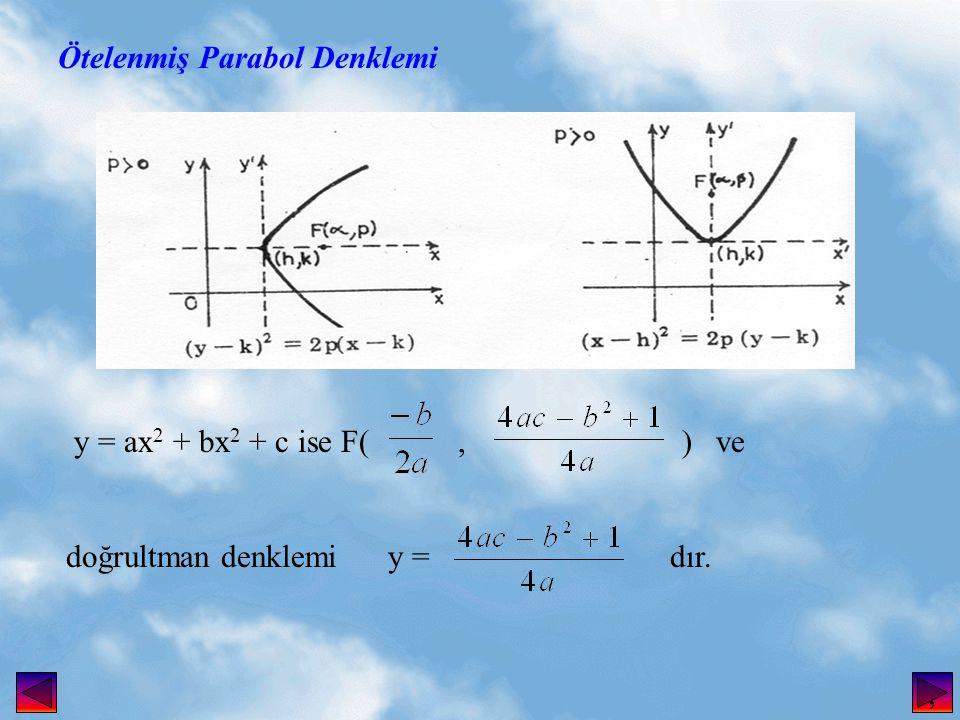 Ötelenmiş Parabol Denklemi y = ax 2 + bx 2 + c ise F(, ) ve doğrultman denklemi y = dır.,