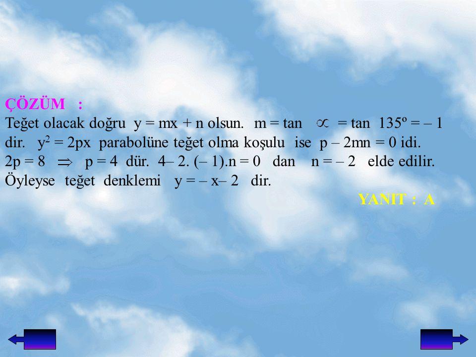 ÇÖZÜM : Teğet olacak doğru y = mx + n olsun.m = tan = tan 135º = – 1 dir.