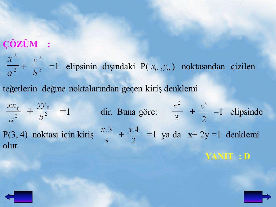 ÇÖZÜM : + =1 elipsinin dışındaki P(, ) noktasından çizilen teğetlerin değme noktalarından geçen kiriş denklemi + = 1 dir.