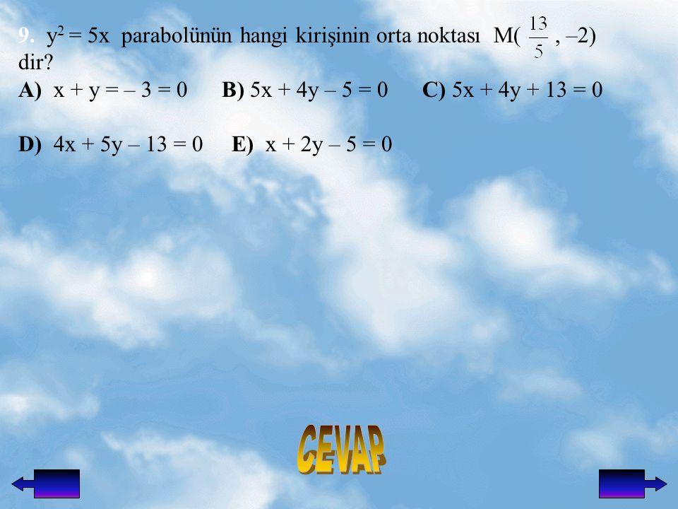 9.y 2 = 5x parabolünün hangi kirişinin orta noktası M(, –2) dir.