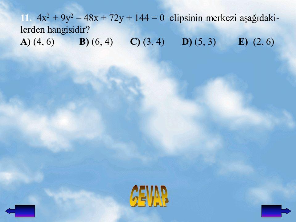 11.4x 2 + 9y 2 – 48x + 72y + 144 = 0 elipsinin merkezi aşağıdaki- lerden hangisidir.