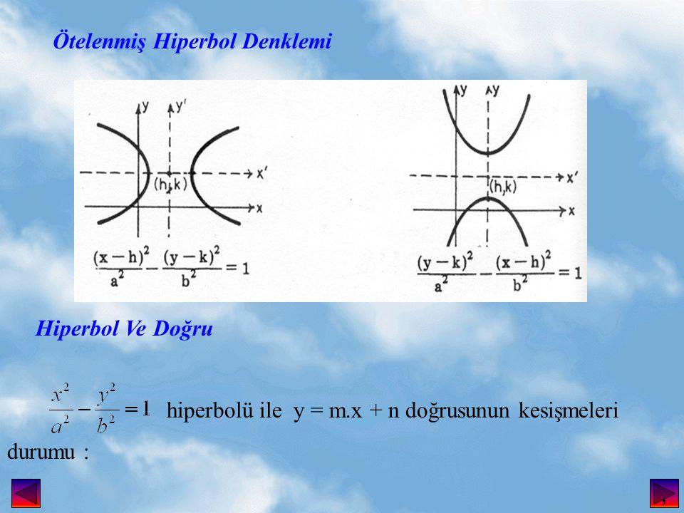 Ötelenmiş Hiperbol Denklemi Hiperbol Ve Doğru hiperbolü ile y = m.x + n doğrusunun kesişmeleri durumu :,