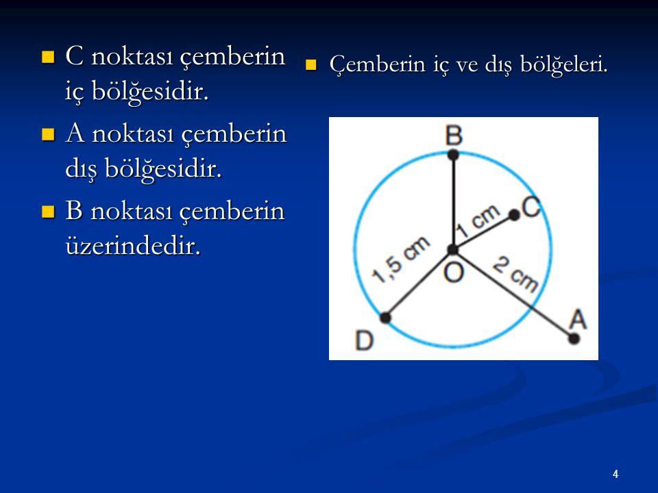 4 C noktası çemberin iç bölğesidir.C noktası çemberin iç bölğesidir.