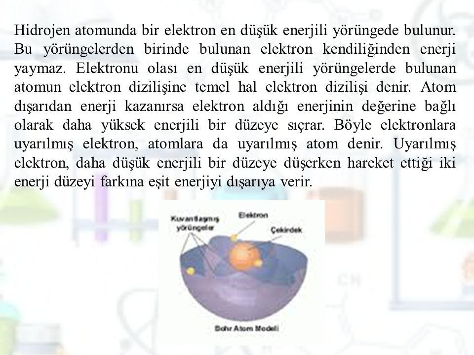 Hidrojen atomunda bir elektron en düşük enerjili yörüngede bulunur. Bu yörüngelerden birinde bulunan elektron kendiliğinden enerji yaymaz. Elektronu o