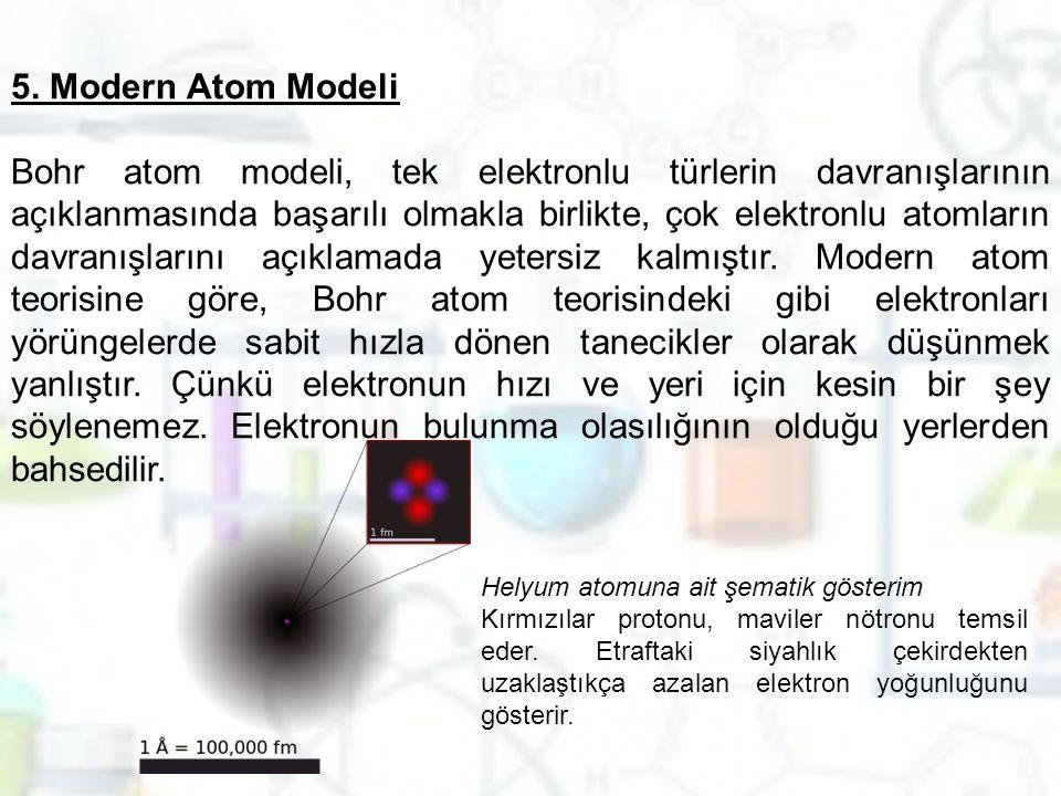 5. Modern Atom Modeli Bohr atom modeli, tek elektronlu türlerin davranışlarının açıklanmasında başarılı olmakla birlikte, çok elektronlu atomların dav