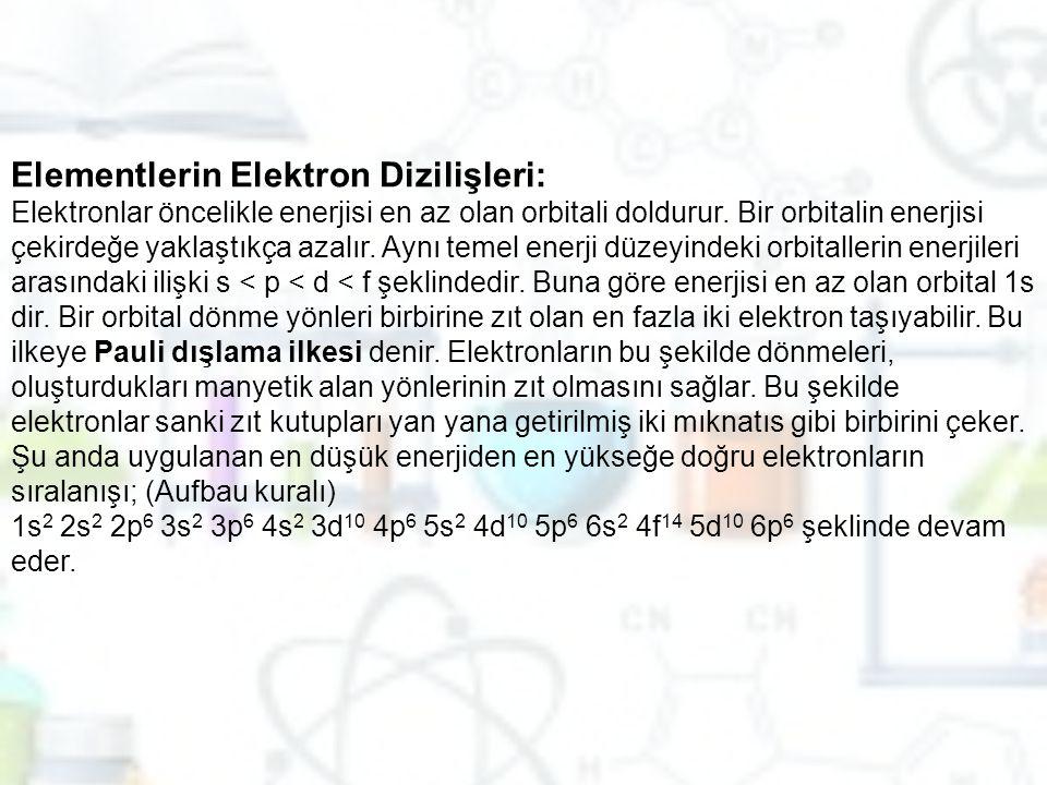 Elementlerin Elektron Dizilişleri: Elektronlar öncelikle enerjisi en az olan orbitali doldurur. Bir orbitalin enerjisi çekirdeğe yaklaştıkça azalır. A