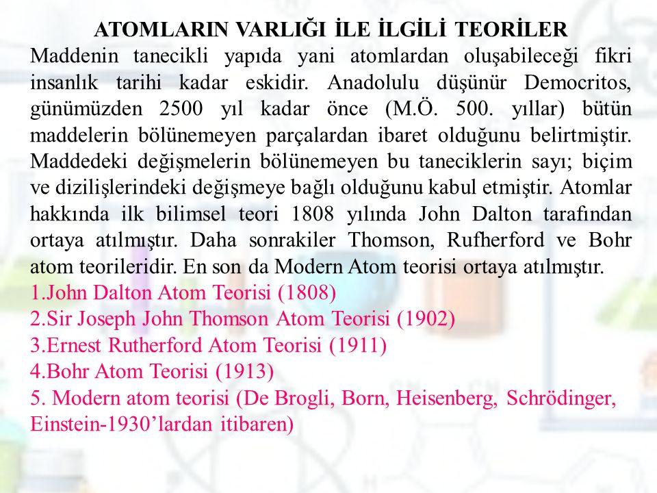 ATOMLARIN VARLIĞI İLE İLGİLİ TEORİLER Maddenin tanecikli yapıda yani atomlardan oluşabileceği fikri insanlık tarihi kadar eskidir. Anadolulu düşünür D