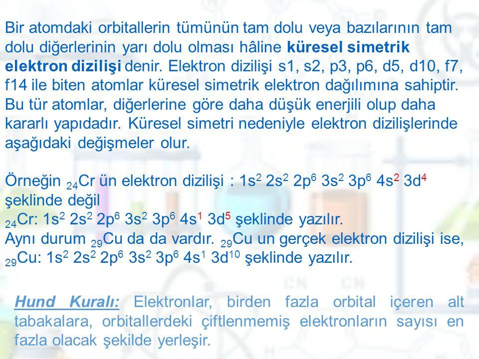 Bir atomdaki orbitallerin tümünün tam dolu veya bazılarının tam dolu diğerlerinin yarı dolu olması hâline küresel simetrik elektron dizilişi denir. El