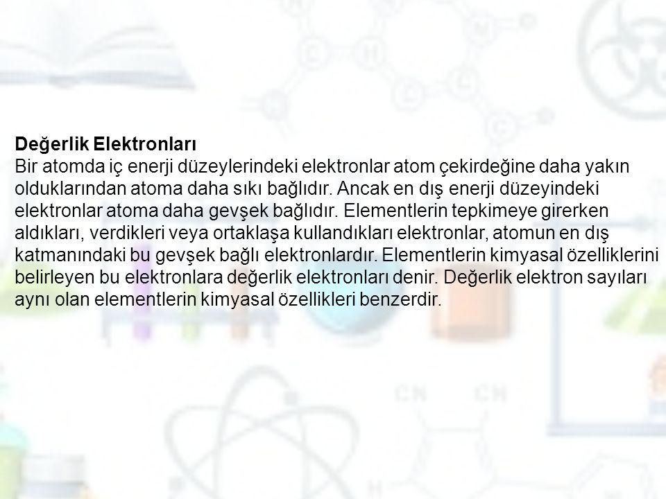 Değerlik Elektronları Bir atomda iç enerji düzeylerindeki elektronlar atom çekirdeğine daha yakın olduklarından atoma daha sıkı bağlıdır. Ancak en dış