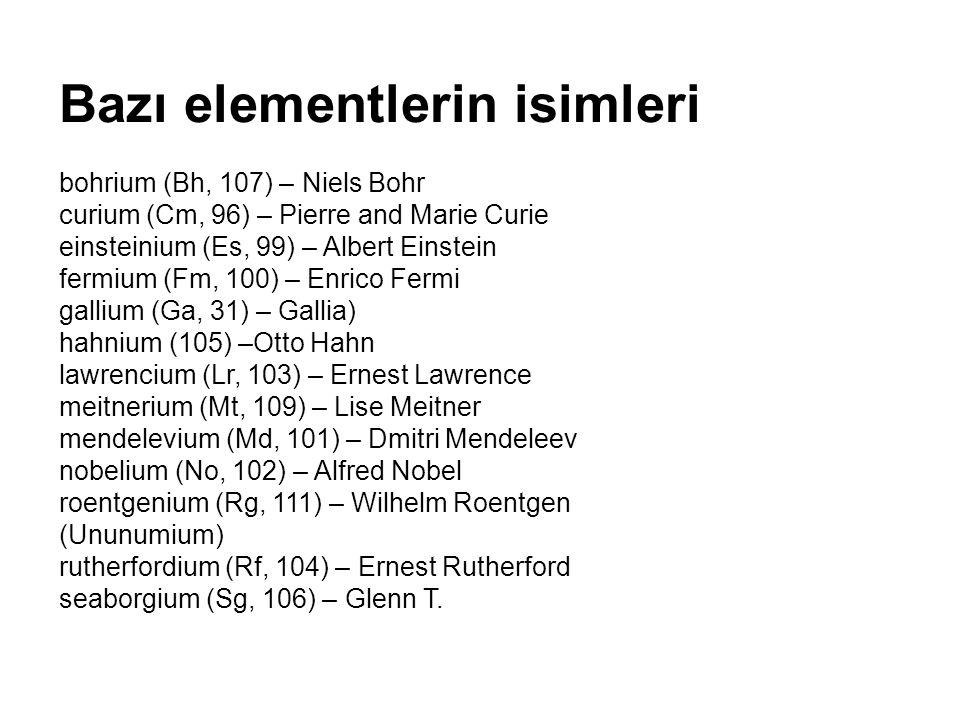 Bazı elementlerin isimleriazıntlerin isimleri bohrium (Bh, 107) – Niels Bohr curium (Cm, 96) – Pierre and Marie Curie einsteinium (Es, 99) – Albert Ei