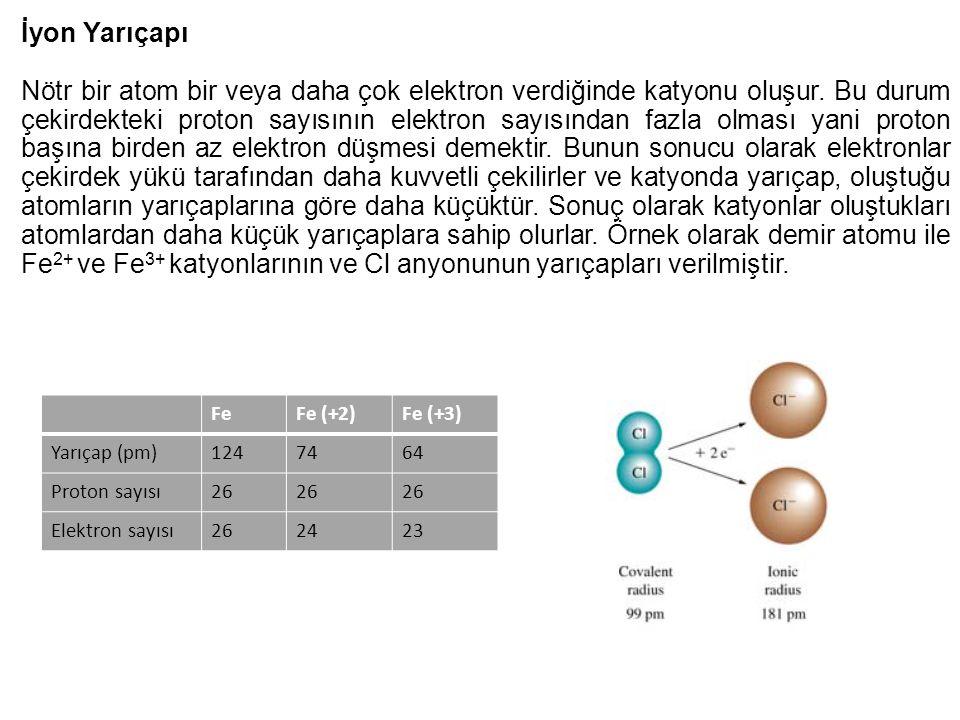 İyon Yarıçapı Nötr bir atom bir veya daha çok elektron verdiğinde katyonu oluşur. Bu durum çekirdekteki proton sayısının elektron sayısından fazla olm