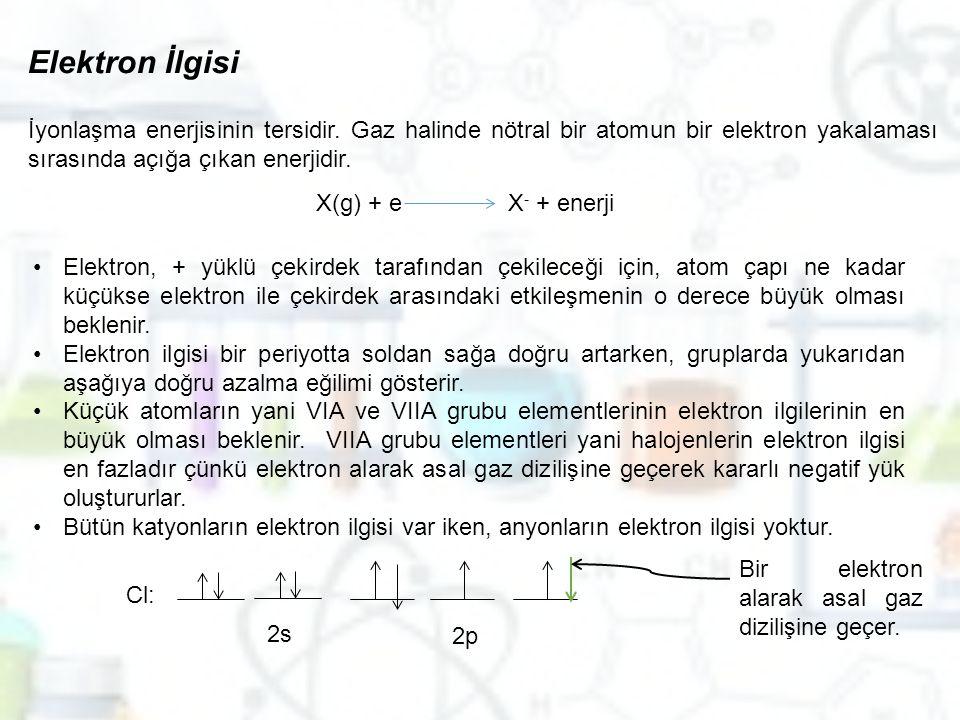 Elektron İlgisi İyonlaşma enerjisinin tersidir. Gaz halinde nötral bir atomun bir elektron yakalaması sırasında açığa çıkan enerjidir. X(g) + eX - + e