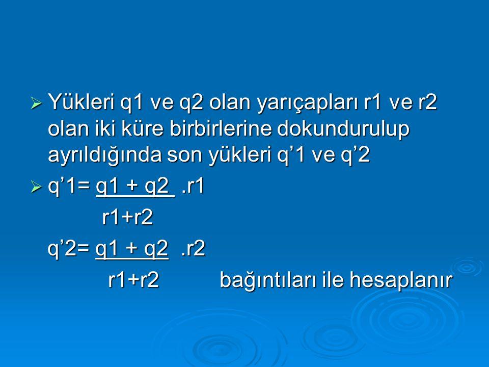  Yükleri q1 ve q2 olan yarıçapları r1 ve r2 olan iki küre birbirlerine dokundurulup ayrıldığında son yükleri q'1 ve q'2  q'1= q1 + q2.r1 r1+r2 r1+r2