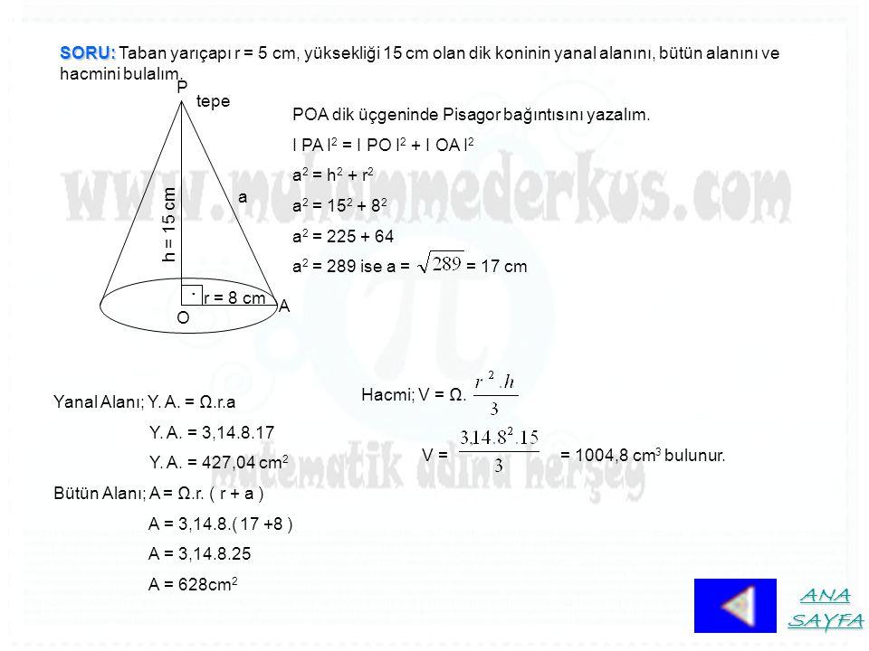 SORU: SORU: Taban yarıçapı r = 5 cm, yüksekliği 15 cm olan dik koninin yanal alanını, bütün alanını ve hacmini bulalım. A P. O tepe h = 15 cm r = 8 cm