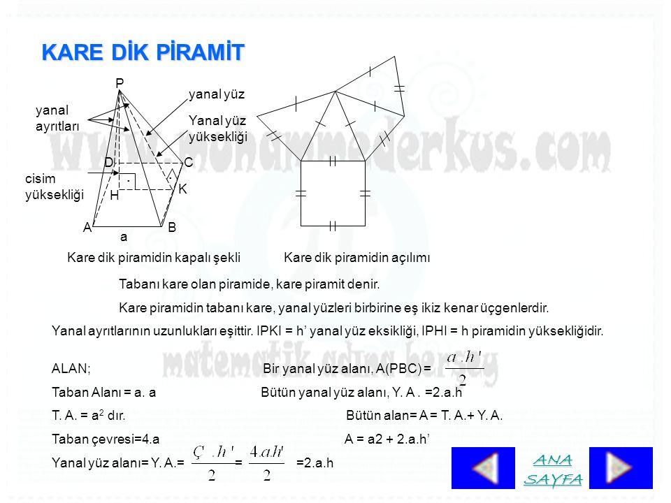 KARE DİK PİRAMİT.. K H P DC BA Kare dik piramidin kapalı şekliKare dik piramidin açılımı Tabanı kare olan piramide, kare piramit denir. Kare piramidin
