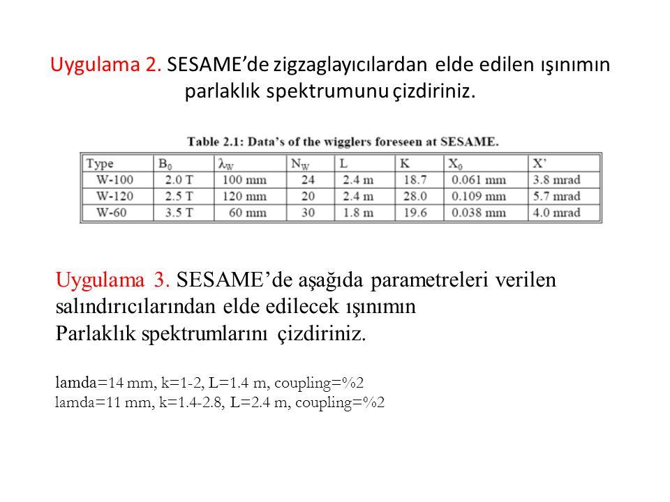 Uygulama 2. SESAME'de zigzaglayıcılardan elde edilen ışınımın parlaklık spektrumunu çizdiriniz.