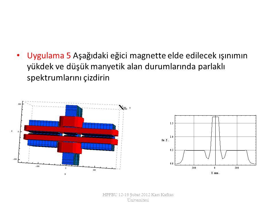 Uygulama 5 Aşağıdaki eğici magnette elde edilecek ışınımın yükdek ve düşük manyetik alan durumlarında parlaklı spektrumlarını çizdirin HPFBU 12-19 Şubat 2012 Kars Kafkas Üniversitesi
