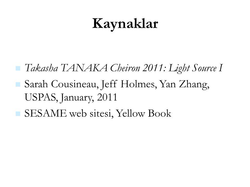 21 Kaynaklar Takasha TANAKA Cheiron 2011: Light Source I Sarah Cousineau, Jeff Holmes, Yan Zhang, USPAS, January, 2011 SESAME web sitesi, Yellow Book