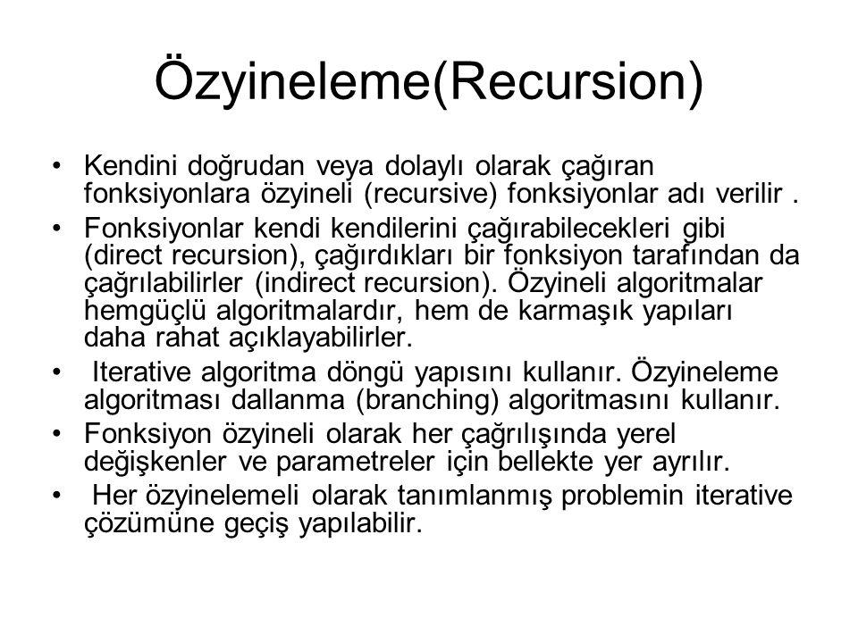 Özyineleme(Recursion) Kendini doğrudan veya dolaylı olarak çağıran fonksiyonlara özyineli (recursive) fonksiyonlar adı verilir.