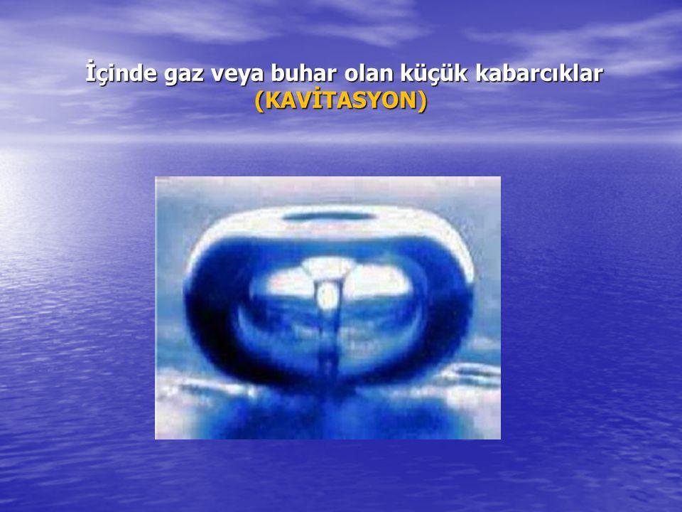 İçinde gaz veya buhar olan küçük kabarcıklar (KAVİTASYON) İçinde gaz veya buhar olan küçük kabarcıklar (KAVİTASYON)