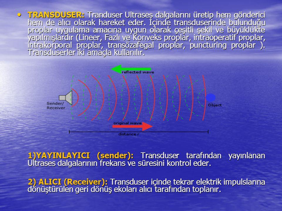 TRANSDUSER: Tranduser Ultrases dalgalarını üretip hem gönderici hem de alıcı olarak hareket eder. İçinde transduserinde bulunduğu proplar uygulama ama