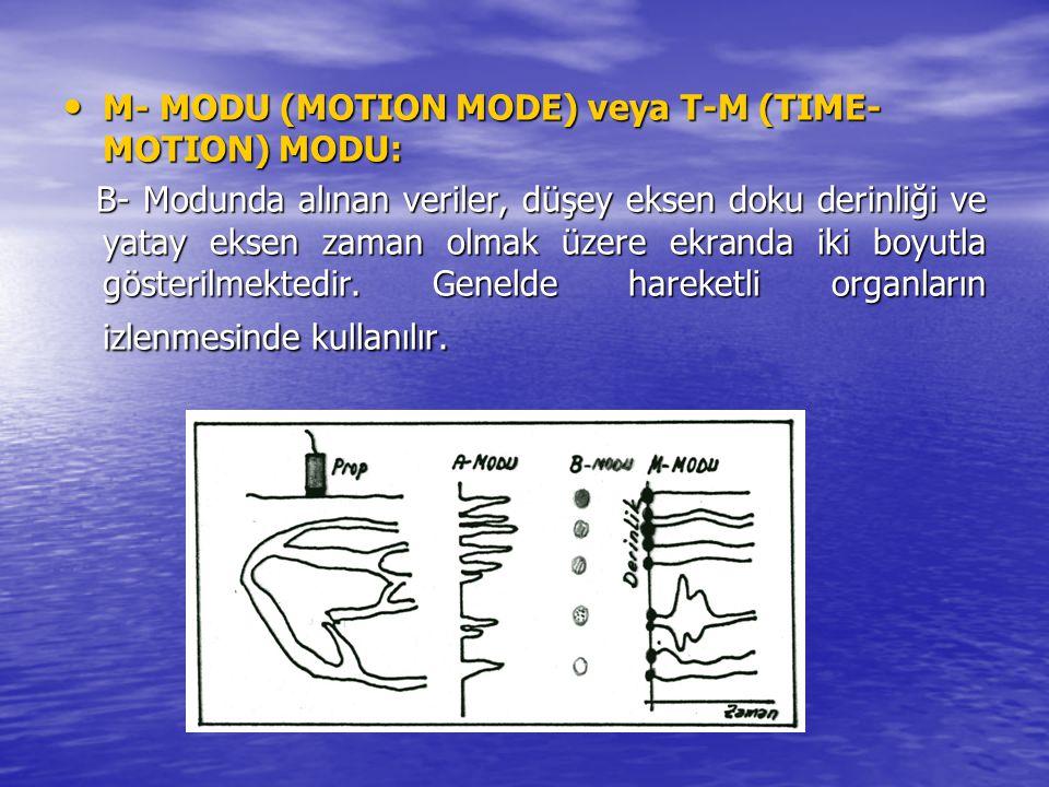 M- MODU (MOTION MODE) veya T-M (TIME- MOTION) MODU: M- MODU (MOTION MODE) veya T-M (TIME- MOTION) MODU: B- Modunda alınan veriler, düşey eksen doku de