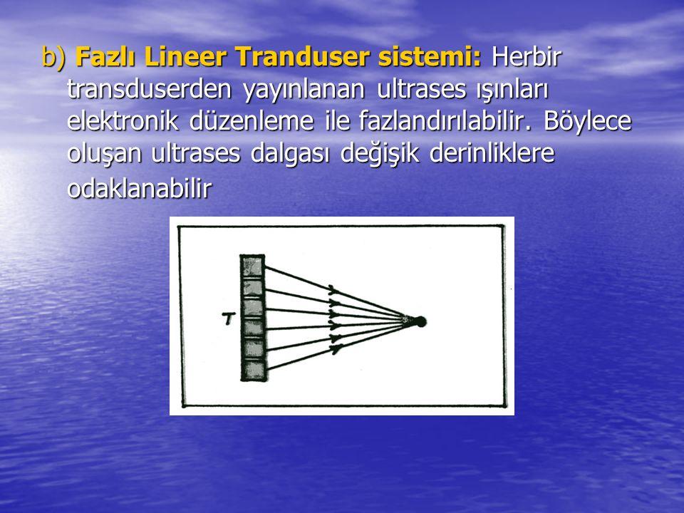 b) Fazlı Lineer Tranduser sistemi: Herbir transduserden yayınlanan ultrases ışınları elektronik düzenleme ile fazlandırılabilir. Böylece oluşan ultras