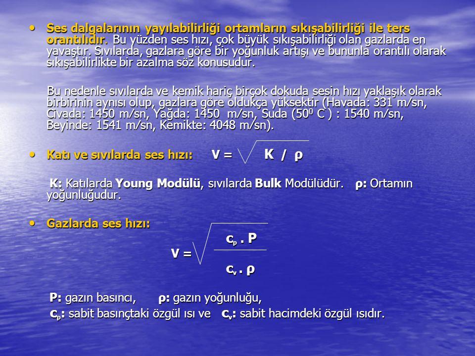 Ses dalgalarının yayılabilirliği ortamların sıkışabilirliği ile ters orantılıdır. Bu yüzden ses hızı, çok büyük sıkışabilirliği olan gazlarda en yavaş