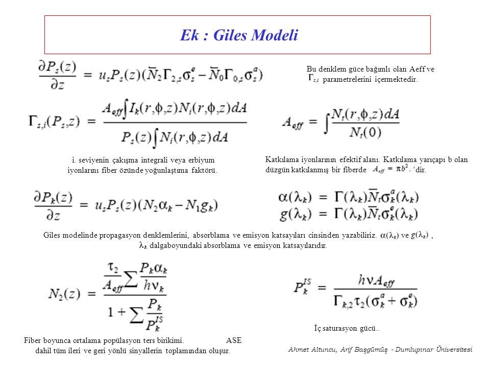 Bu denklem güce bağımlı olan Aeff ve parametrelerini içermektedir. i. seviyenin çakışma integrali veya erbiyum iyonlarını fiber özünde yoğunlaştıma fa