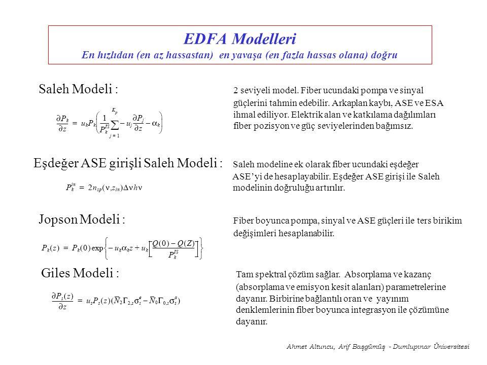 EDFA Modelleri En hızlıdan (en az hassastan) en yavaşa (en fazla hassas olana) doğru Giles Modeli : Tam spektral çözüm sağlar. Absorplama ve kazanç (a
