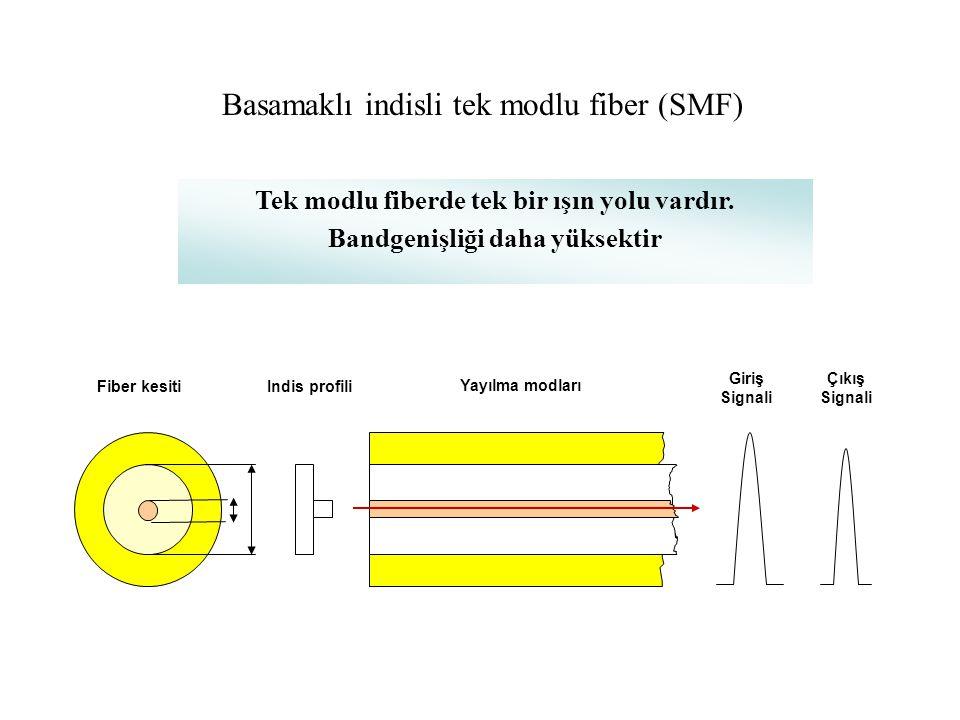 Fiber kesitiIndis profili Yayılma modları Giriş Signali Çıkış Signali Basamaklı indisli çok modlu fiber (MMF) Çok modlu fiberde çok sayıda ışın yolu v