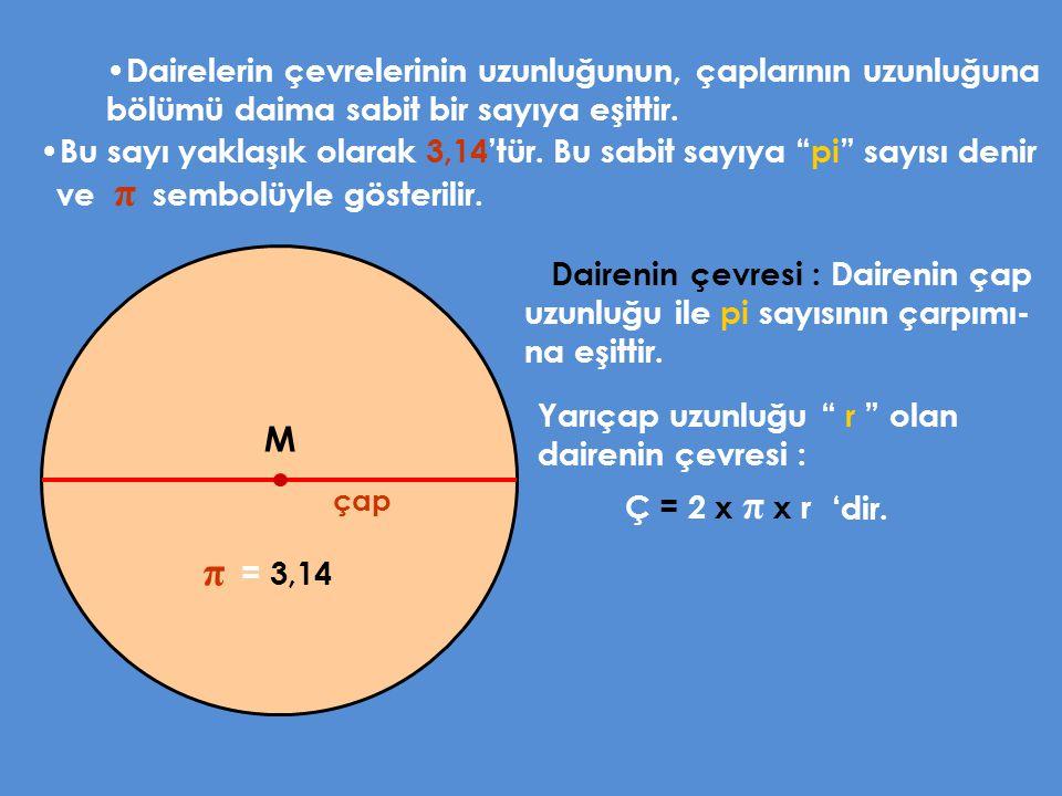 Dairelerin çevrelerinin uzunluğunun, çaplarının uzunluğuna bölümü daima sabit bir sayıya eşittir. M çap Bu sayı yaklaşık olarak 3,14'tür. Bu sabit say