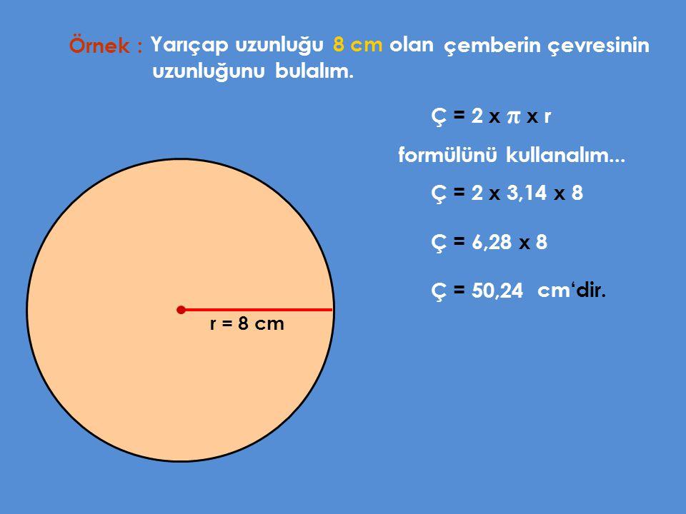 Dairenin alanı yarıçap uzunluğunun karesi ile pi sayısının çarpımına eşittir.