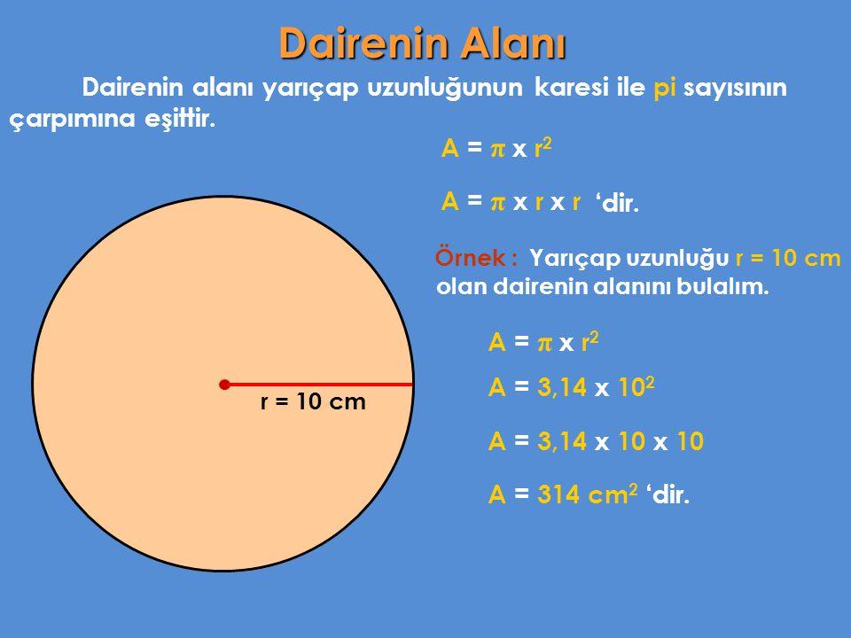 Dairenin alanı yarıçap uzunluğunun karesi ile pi sayısının çarpımına eşittir. A = π x r 2 Örnek : Yarıçap uzunluğu r = 10 cm olan dairenin alanını bul
