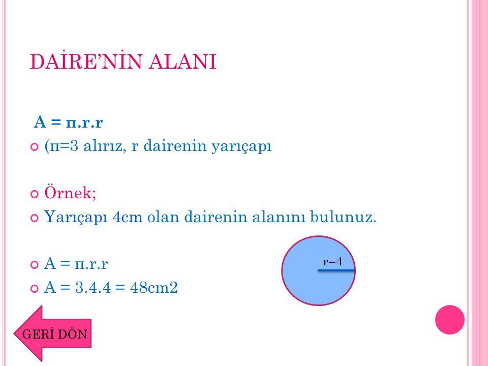 DAİRE DİLİMİNİN ALANI A = π.r.r.x / 360º (π=3 alırız, r dairenin yarıçapı, x açısı daire diliminin arasında kalan merkez açı)