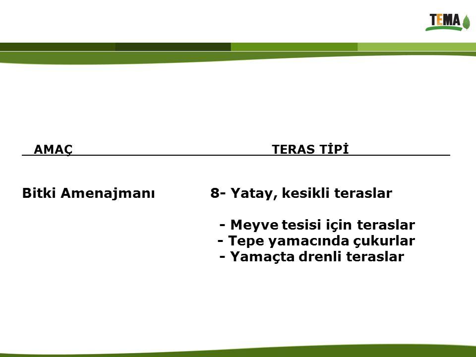 Şekil 1 : Aralıklı Basamak (Gradoni) Teraslar a) Çanak Teraslar b) Hendek Teraslar c) Boşaltım Teraslar