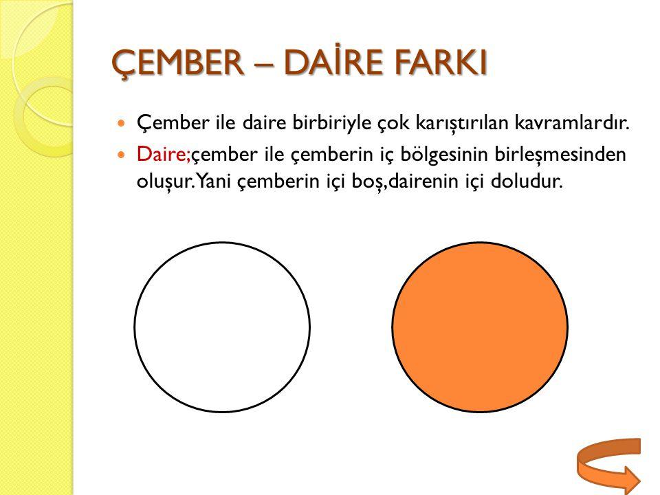ÇEMBER – DA İ RE FARKI Çember ile daire birbiriyle çok karıştırılan kavramlardır. Daire;çember ile çemberin iç bölgesinin birleşmesinden oluşur.Yani ç