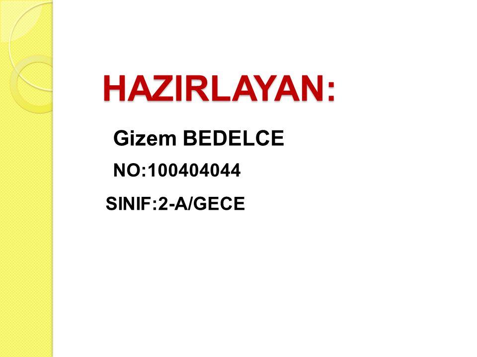 HAZIRLAYAN: Gizem BEDELCE NO:100404044 SINIF:2-A/GECE