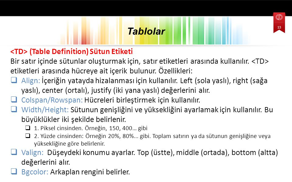 (Table Definition) Sütun Etiketi Bir satır içinde sütunlar oluşturmak için, satır etiketleri arasında kullanılır.