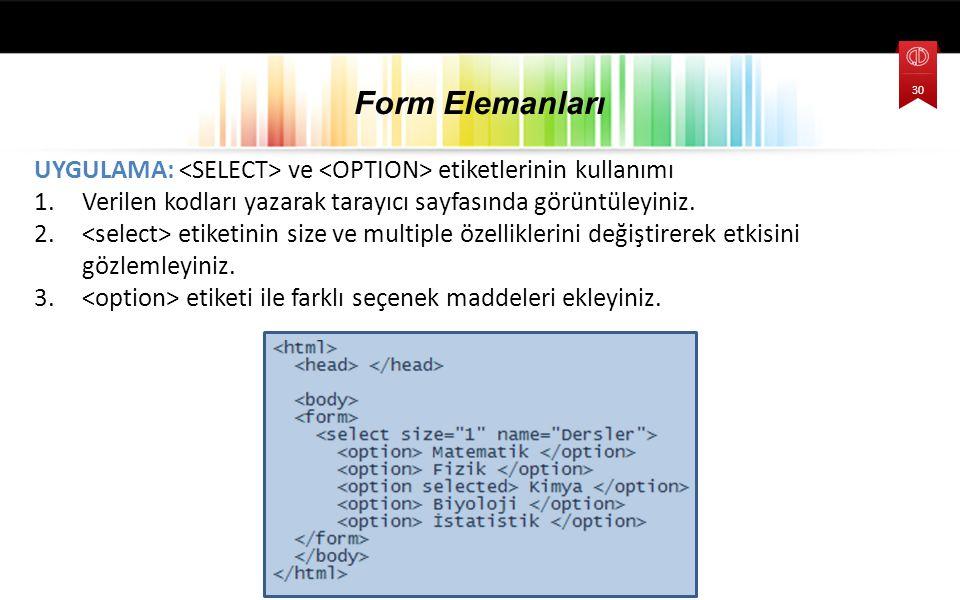 UYGULAMA: ve etiketlerinin kullanımı 1.Verilen kodları yazarak tarayıcı sayfasında görüntüleyiniz.