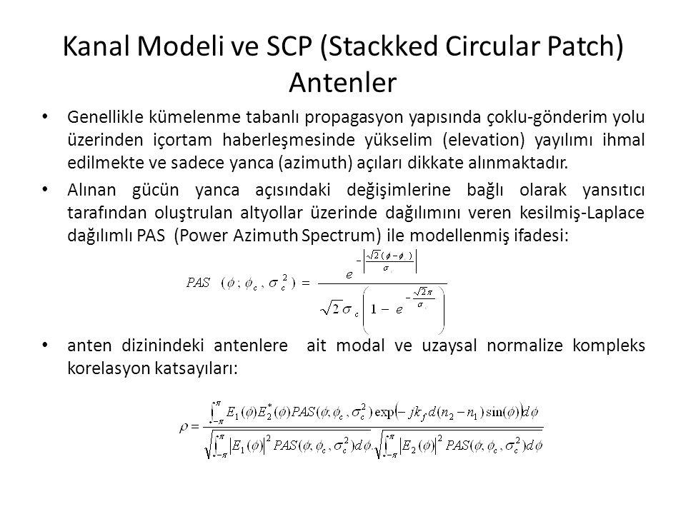 Kanal Modeli ve SCP (Stackked Circular Patch) Antenler Genellikle kümelenme tabanlı propagasyon yapısında çoklu-gönderim yolu üzerinden içortam haberl