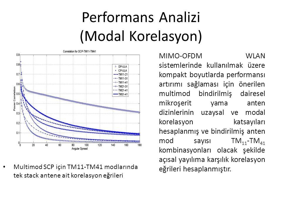 Performans Analizi (Modal Korelasyon) MIMO-OFDM WLAN sistemlerinde kullanılmak üzere kompakt boyutlarda performansı artırımı sağlaması için önerilen m