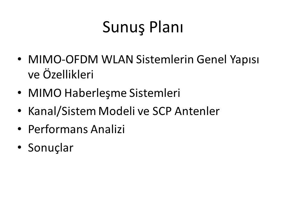 Sunuş Planı MIMO-OFDM WLAN Sistemlerin Genel Yapısı ve Özellikleri MIMO Haberleşme Sistemleri Kanal/Sistem Modeli ve SCP Antenler Performans Analizi S