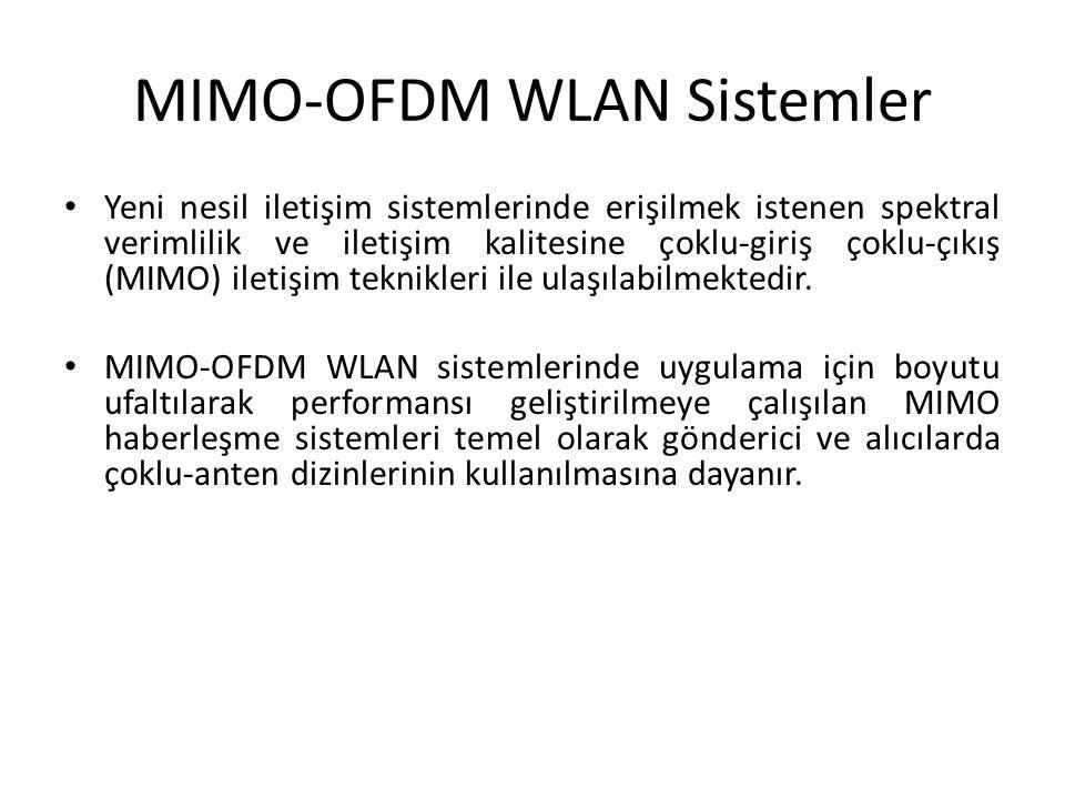 MIMO-OFDM WLAN Sistemler Yeni nesil iletişim sistemlerinde erişilmek istenen spektral verimlilik ve iletişim kalitesine çoklu-giriş çoklu-çıkış (MIMO)