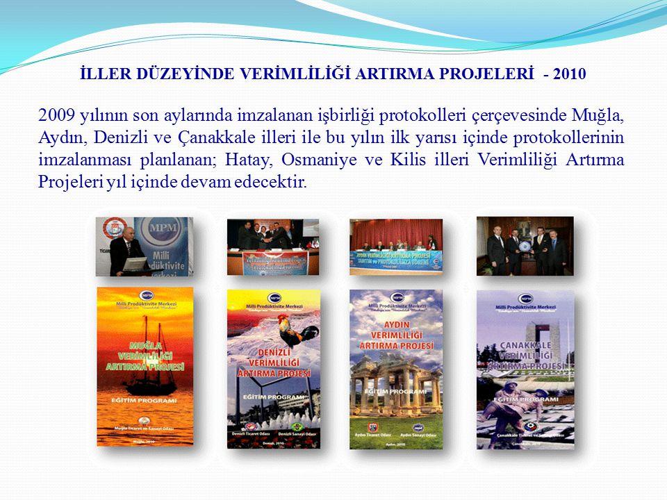 İLLER DÜZEYİNDE VERİMLİLİĞİ ARTIRMA PROJELERİ - 2010 2009 yılının son aylarında imzalanan işbirliği protokolleri çerçevesinde Muğla, Aydın, Denizli ve Çanakkale illeri ile bu yılın ilk yarısı içinde protokollerinin imzalanması planlanan; Hatay, Osmaniye ve Kilis illeri Verimliliği Artırma Projeleri yıl içinde devam edecektir.