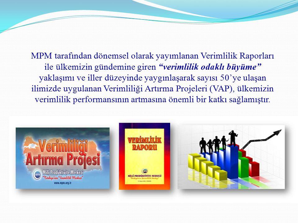 MPM tarafından dönemsel olarak yayımlanan Verimlilik Raporları ile ülkemizin gündemine giren verimlilik odaklı büyüme yaklaşımı ve iller düzeyinde yaygınlaşarak sayısı 50'ye ulaşan ilimizde uygulanan Verimliliği Artırma Projeleri (VAP), ülkemizin verimlilik performansının artmasına önemli bir katkı sağlamıştır.